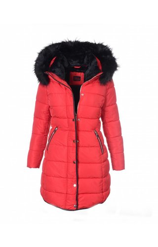 Modegram Modegram gesteppte Damenjacke mit schwarzem Pelz rot