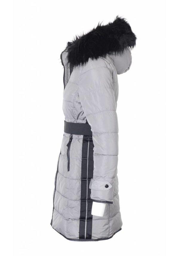 Modegram dames gewatteerde jas parka grijs