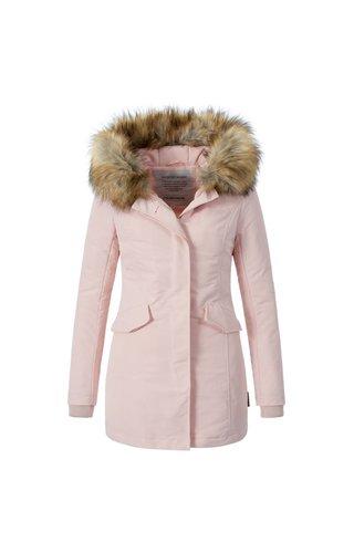 Modegram Modegram Damen Parka Winterjacke mit Pelzkrage rosa