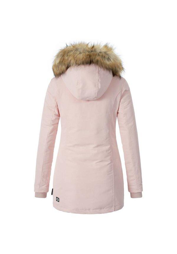 Modegram Damen Parka Winterjacke mit Pelzkrage rosa