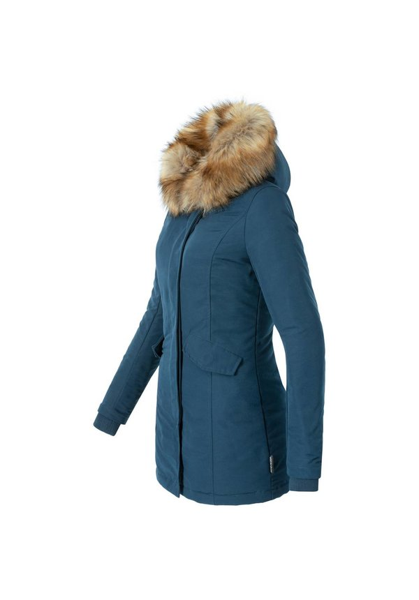 Modegram Damen Parka Winterjacke mit Pelzkragen blau