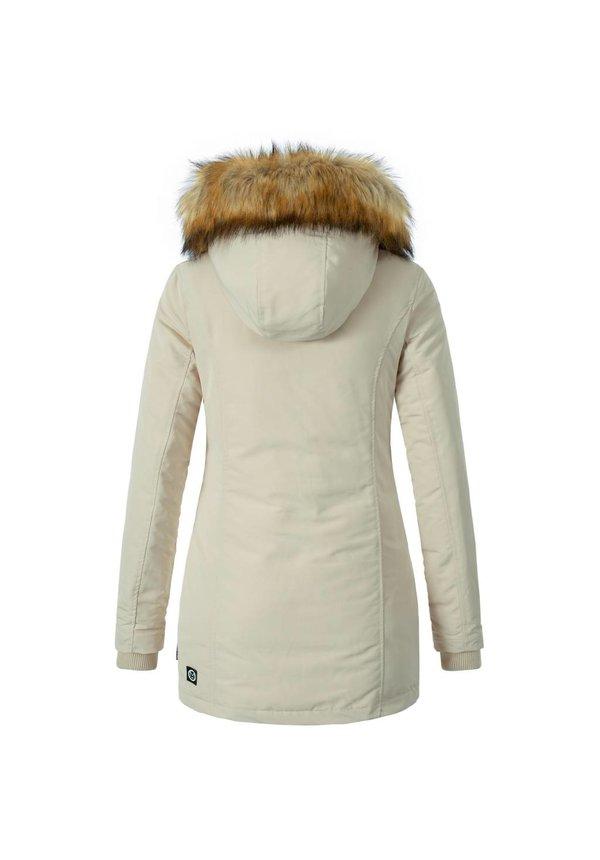 Modegram Damen Parka Winterjacke mit Pelzkrage beige