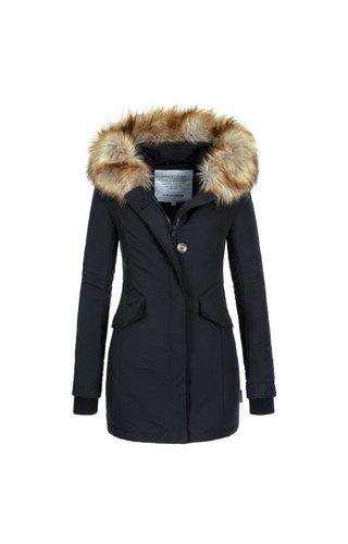 Modegram Modegram Damen Parka Winterjacke mit Pelz schwarz