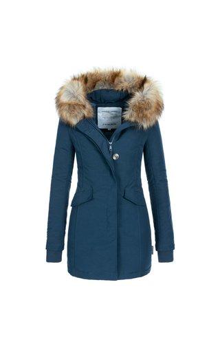 Modegram Modegram dames parka winterjas met bontkraag blauw
