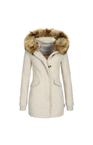 Modegram Modegram Damen Parka Winterjacke mit Pelzkrage beige
