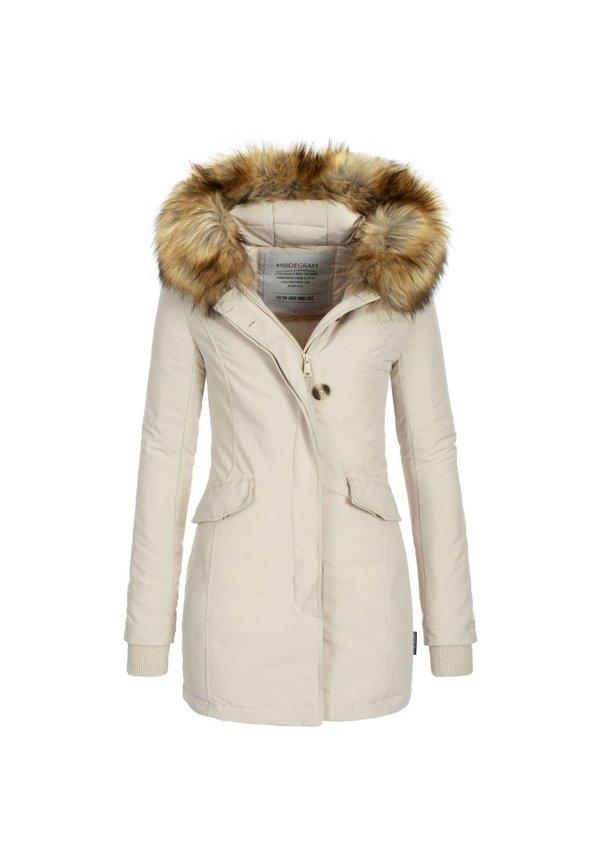 Modegram dames parka winterjas met bontkraag beige