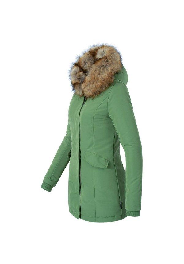 Modegram Damen Parka Winterjacke mit Pelzkrage grün