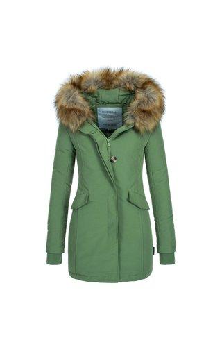 Modegram Modegram Damen Parka Winterjacke mit Pelzkrage grün