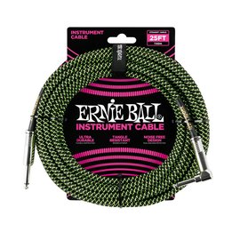 Ernie Ball Ernie Ball black green braided cable 7m