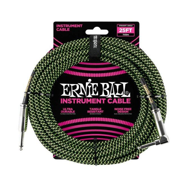Ernie Ball Ernie Ball black green braided cable 7m