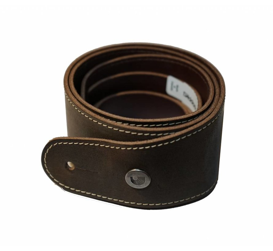 D'Addario Deluxe stonewashed leather guitar strap brown