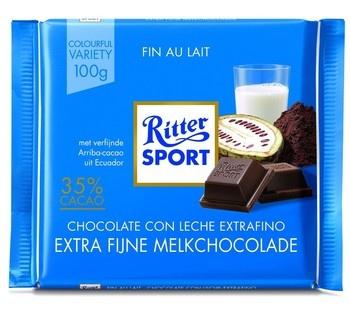 Rittersport Rittersport - Tablet 100Gr Extra Fine Milk, 12 Tabletten