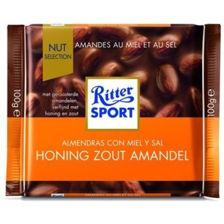 Rittersport Rittersport - Tablet 100G Honing Zout Amand., 11 Tabletten