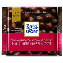 Rittersport - Tablet 100Gr Puur Hele Hazelnt, 10 Tabletten