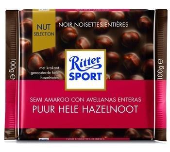 Rittersport Rittersport - Tablet 100Gr Puur Hele Hazelnt, 10 Tabletten