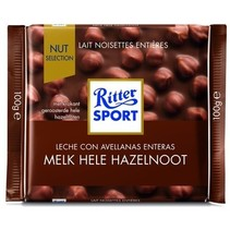 Rittersport - Tablet 100Gr Melk Hele Hazelnt, 10 Tabletten