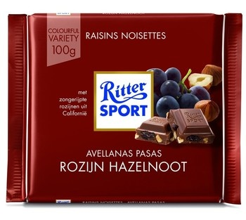 Rittersport Rittersport - tablet 100gr trauben - nuss  -  12 tabletten