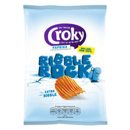 Croky Croky - ribble rock paprika 130g - 9 zakken