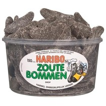 Haribo - Drop Zoute Bommen, 150 Stuks