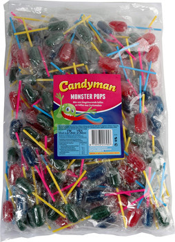Candyman Candyman - Candyman Monster Pops 175St, 175 Stuks
