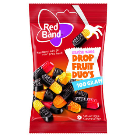 Red Band Red Band Venco - kv dropfruit duo's 100g - 24 zakken