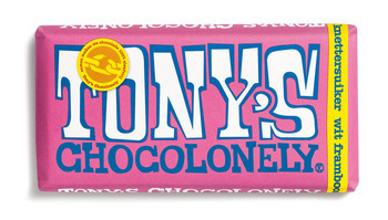 Tony's Chocolonely Tony'S Chocolonely - Reep 180G Wit Framboos Knetter, 15 Repen