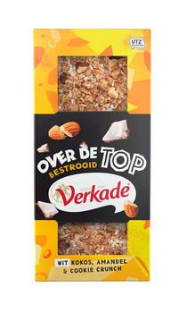 Verkade Verkade - wit over de top - kokos amandel & cookie crunch 120 gram - 12 repen