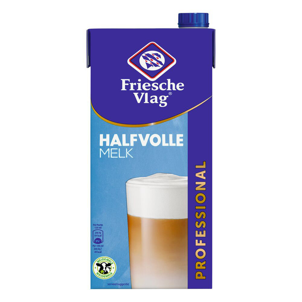 Friesche Vlag Friesche Vlag - Halfvolle Melk 1Lt Pak, 12 Pack