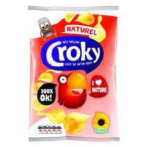 Croky - Croky Chips 100Gr Naturel, 12 Zakken