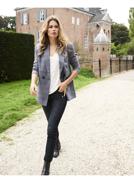 REPEAT cashmere Blazer ruit blue
