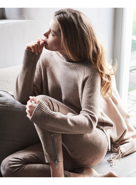 REPEAT cashmere Leather pants taupe