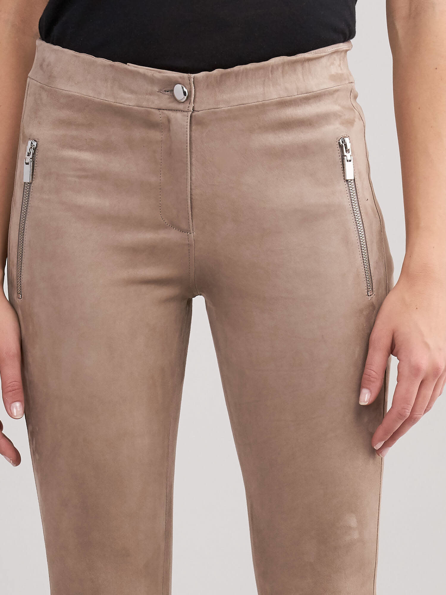 REPEAT leather pants taupe No56 Your Number REPEAT Ulvenhout