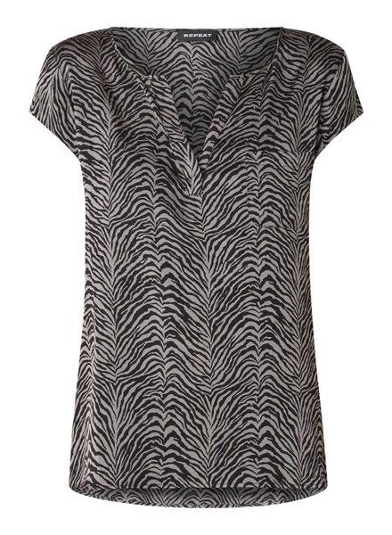 REPEAT cashmere Silk zebra top mud