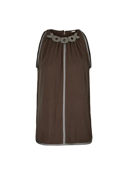 Gustav A-shaped halter neck chocolate