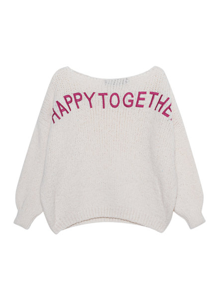 PAUL X CLAIRE Pullover 'happytogether' cream