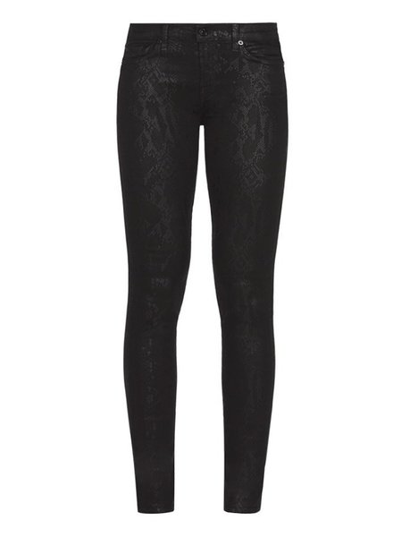 7 For All Mankind Skinny coated snakeskin black
