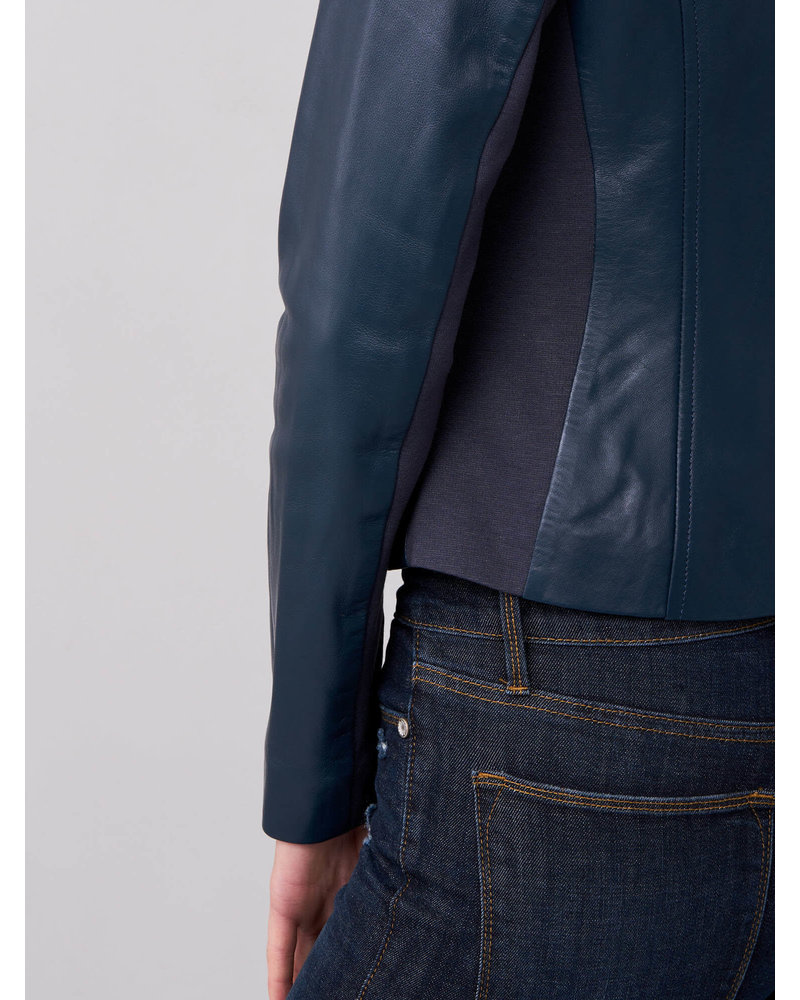 REPEAT cashmere REPEAT leather jacket royal