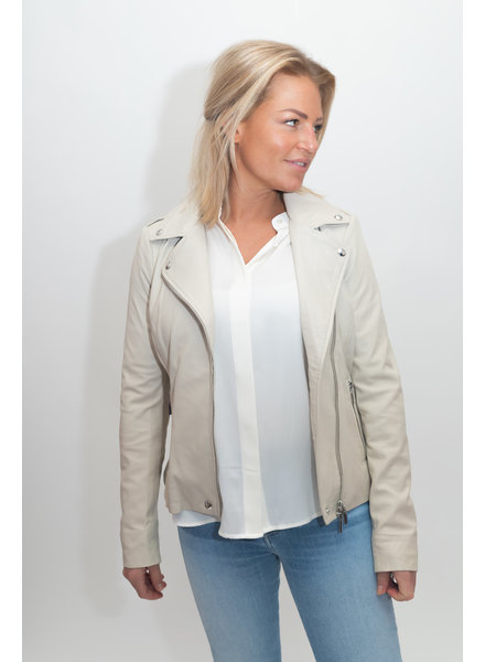 REPEAT cashmere Leather jacket almond