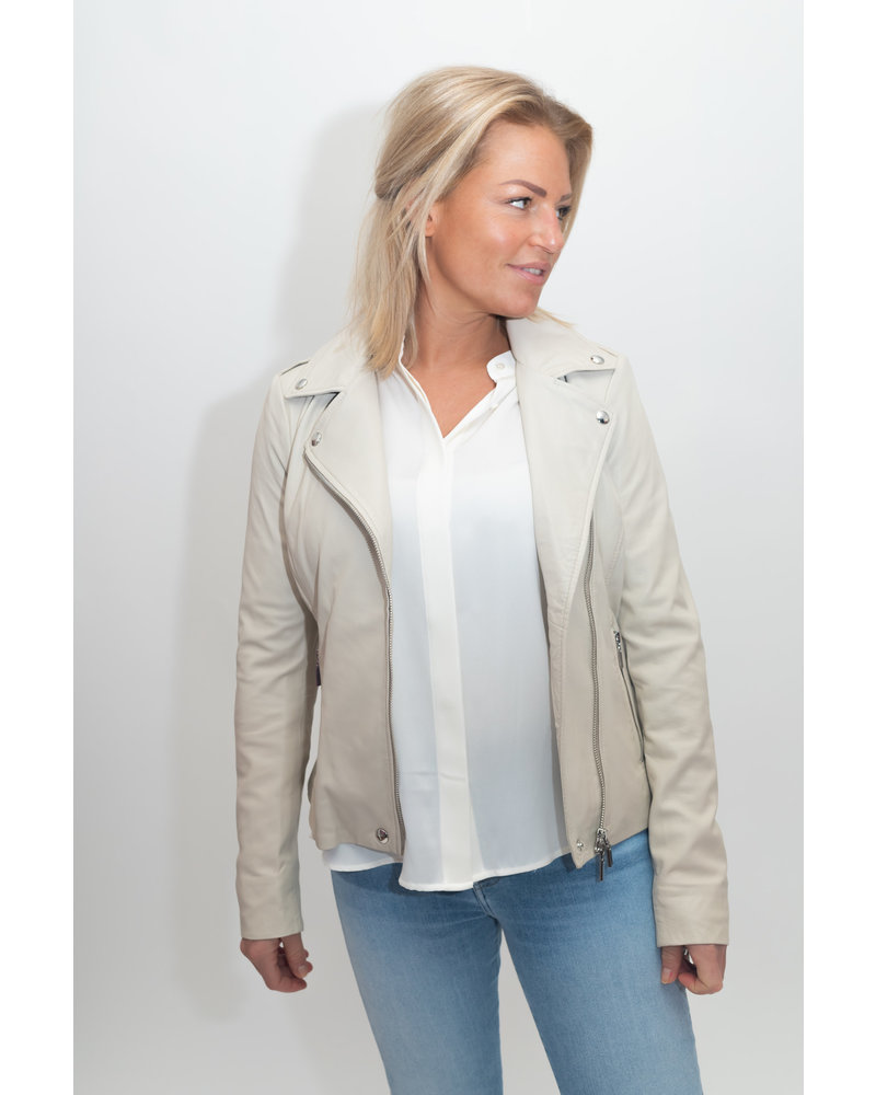 REPEAT cashmere REPEAT leather jacket almond
