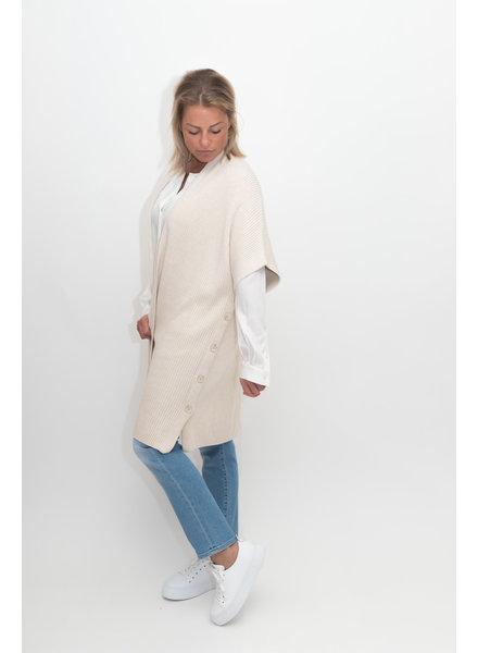 REPEAT cashmere Poncho vest lt beige