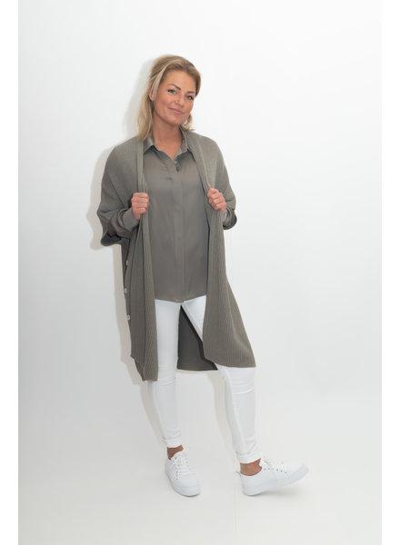 REPEAT cashmere Poncho vest khaki