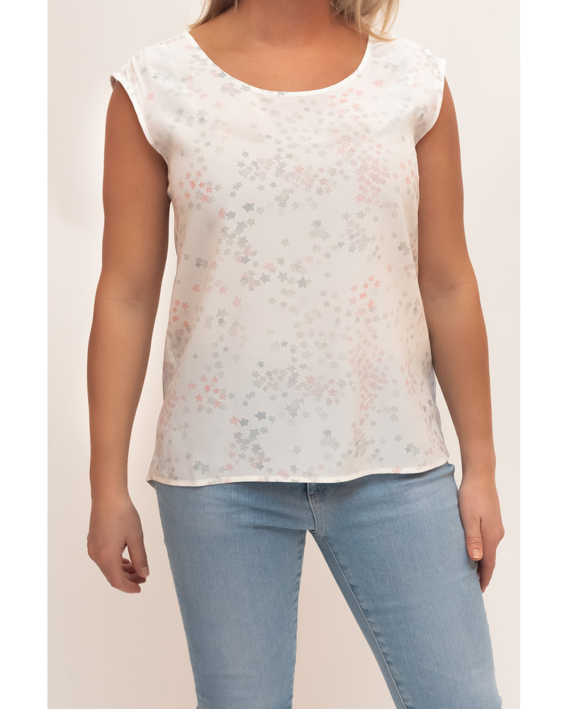 REPEAT cashmere REPEAT silk top pink stars