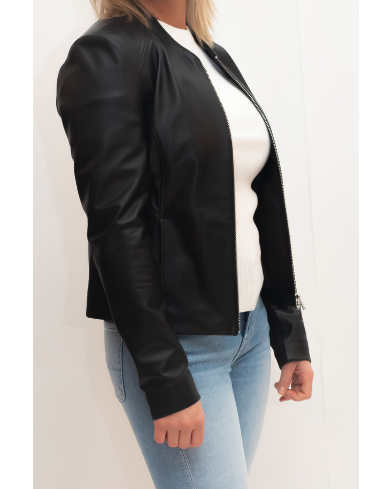 REPEAT cashmere REPEAT leather jacket black