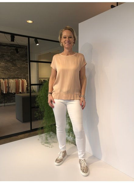 REPEAT cashmere Silk shirt peach