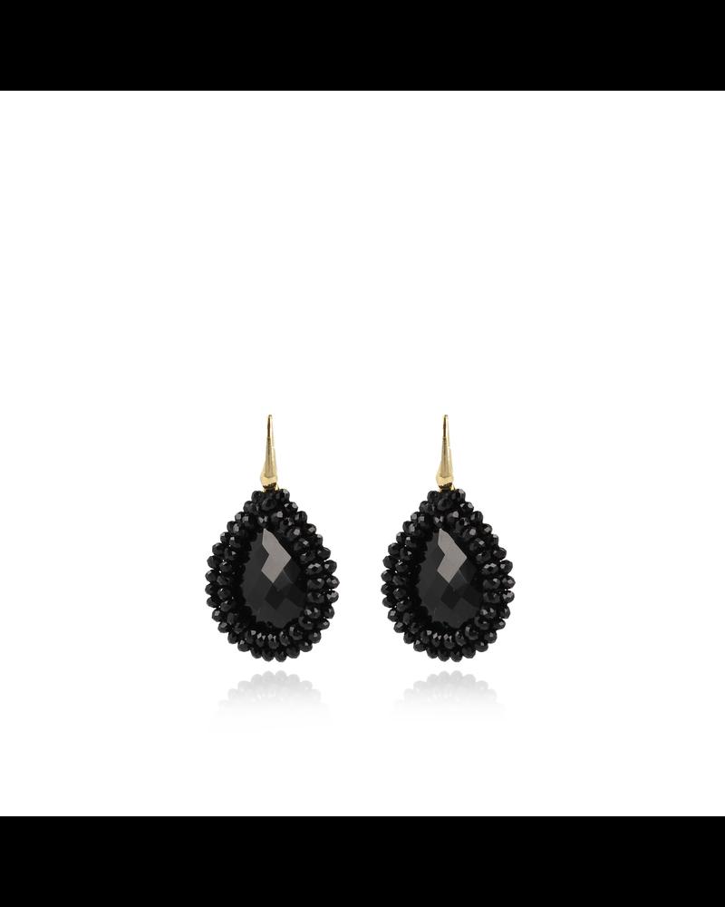 LOTT. gioielli LOTT. zwarte glassberry filled drop M oorbellen