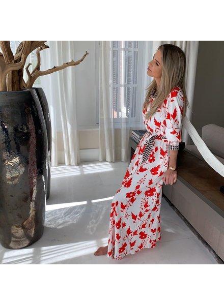 EST'SEVEN Maxi Dress Flower Red/Stripe