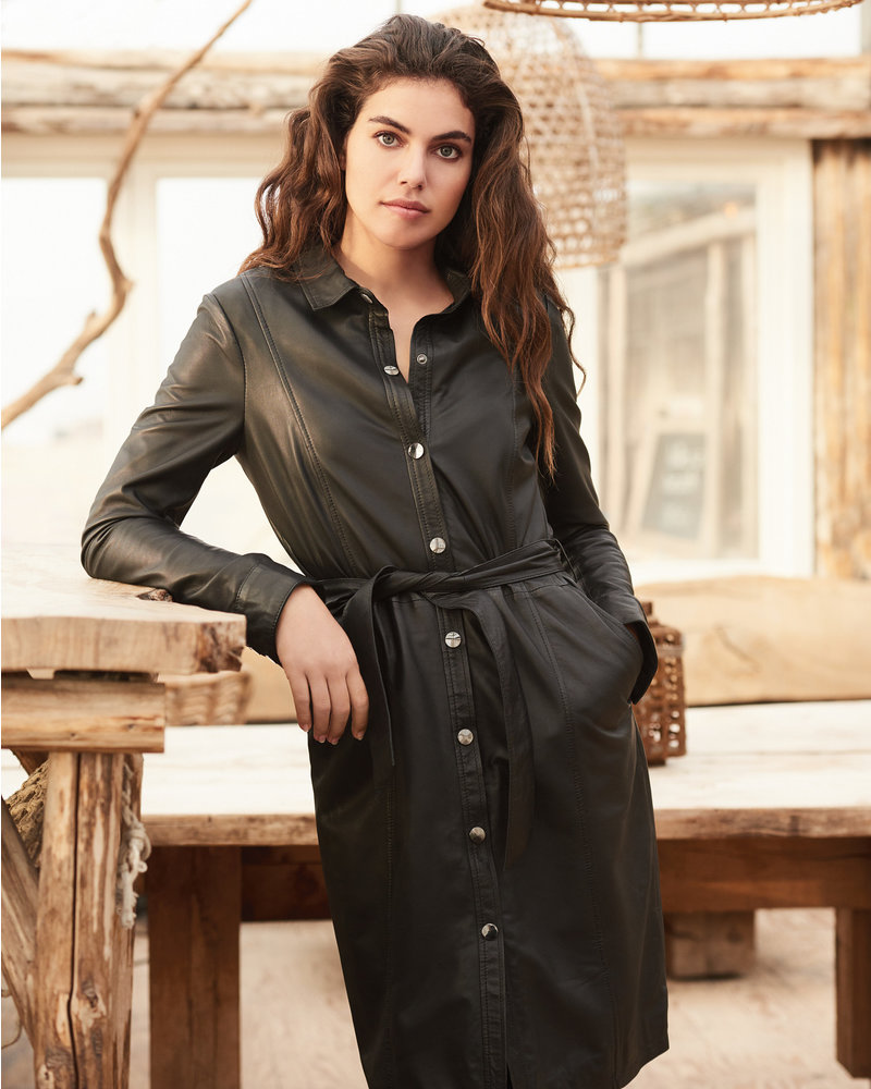 REPEAT cashmere REPEAT leather dress black