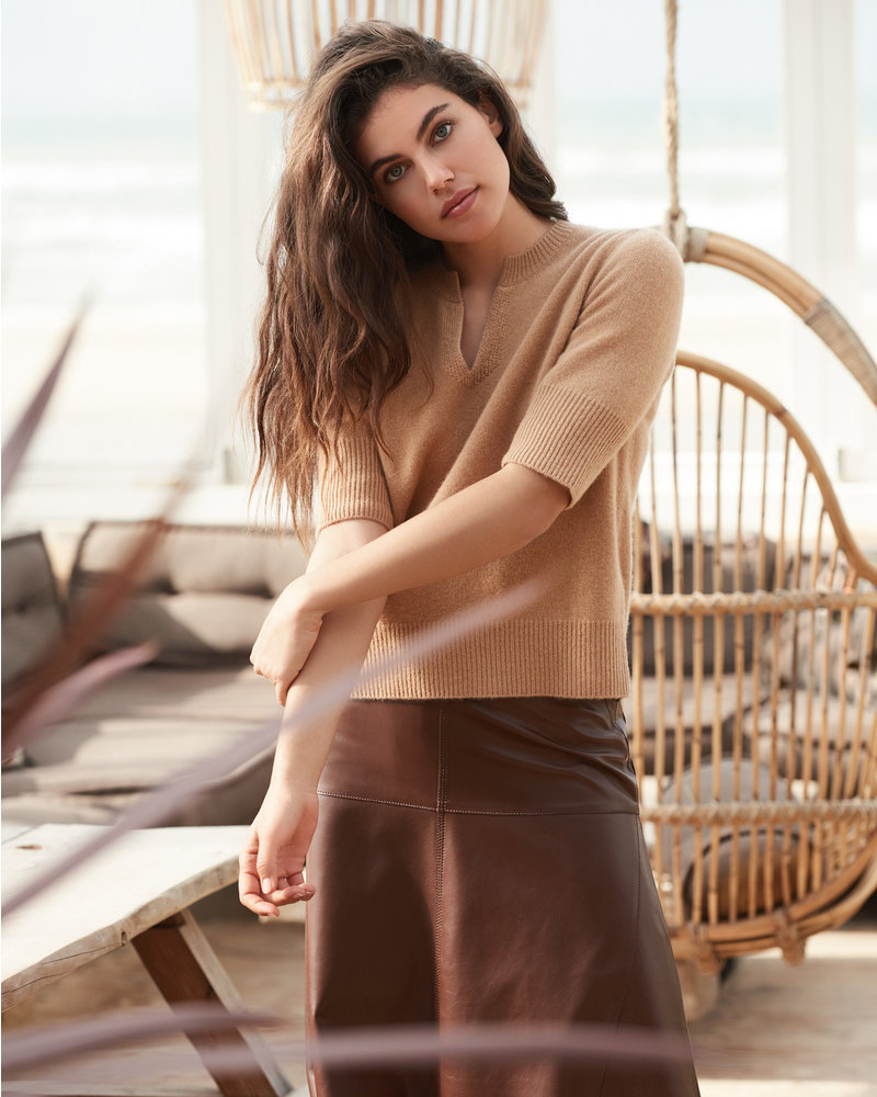 REPEAT cashmere REPEAT leather skirt marone