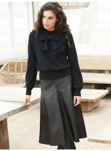 REPEAT cashmere Leather skirt black