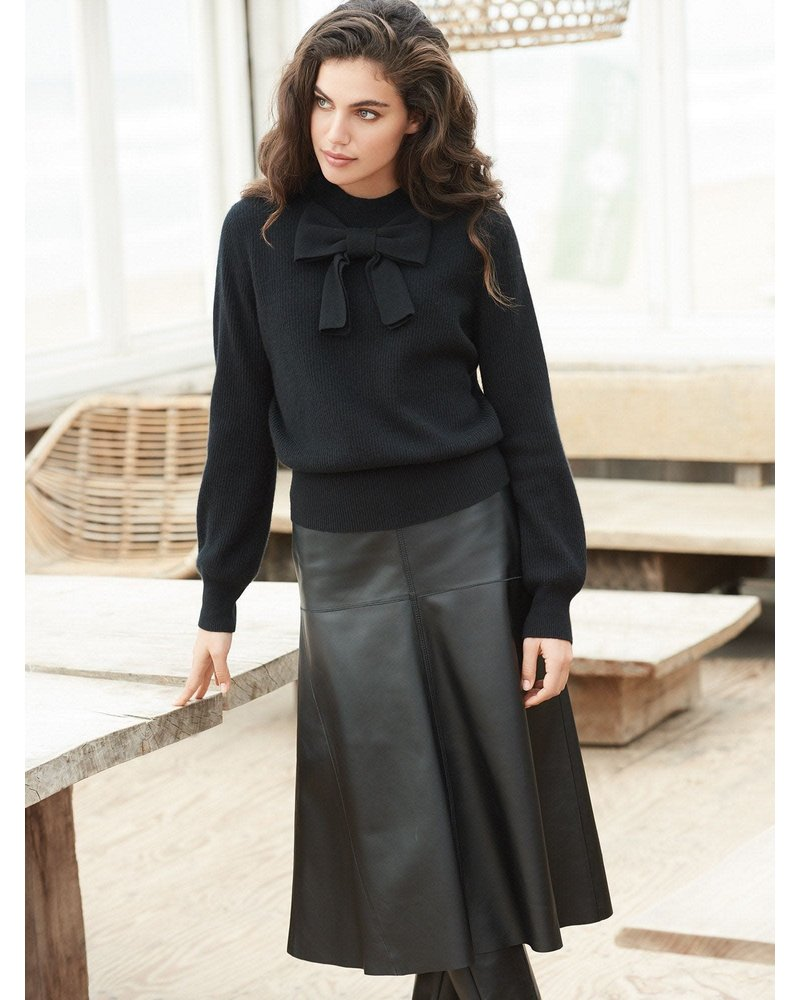 REPEAT cashmere REPEAT leather skirt black